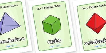 Platonic Polyhedra Display Posters - platonic, polyhedra, platonic solids, cube, tetrahedron, octahedron, icosahedron, dodecahecdron, display, posters, poster, signs
