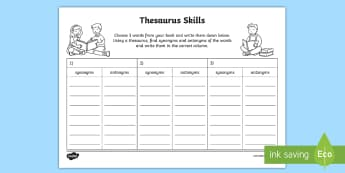 Thesaurus Skills Activity Sheet - Thesaurus Skills Worksheet - thesaurus, thesaurus skills, worksheet, thesaurus worksheets, skills wo