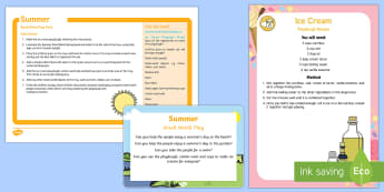 Summer Small World Play Idea and Printable Resource Pack - Summer, builder's tray, tuff tray, tuff spot, sensory, beach, holiday, sunny, small world, hot, sea