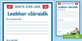 An Dàrna Ire-An Titanic Leabhar-clàraidh  - cfe, an dàrna Ire, Topaic, gaelic, An Titanic, Duilleagan obrach, duilleag obrach,Scottish