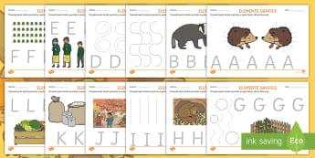 Elemente grafice și litere de tipar pe tema toamnei Fișe de activitate - litere, litere de tipar, controlul creionului, scriere, alfabet, alfabetul, activități,Romanian
