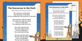 The Scarecrow In The Dark Rhyme - rhyme, halloween, hallowe'en, festival, celebration, scarecrow, dark