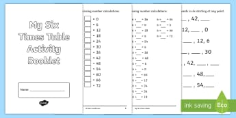 Six Times Table Activity Booklet - Multiplication, Multiply, Calculations, 6x tables, learn, practise, practice