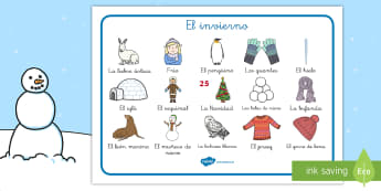 El invierno Tapiz de vocabulario - vocabulario clave, invernal, invierno, escritura, Spanish
