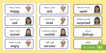 My Feelings and Emotions Word Cards Arabic/English - feelings, emotions, UAE All About Me, UAE Topics, UAE About Me EAL Arabic,Arabic-translation