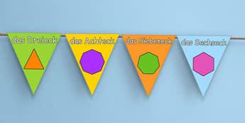 2D Shape Display Bunting German - german, 2d shapes, display, bunting, 2d, shape