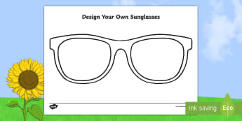 Design Your Own Sunglasses Activity Sheet - Worksheet, summer, beach, sunshine, protection, eyes,