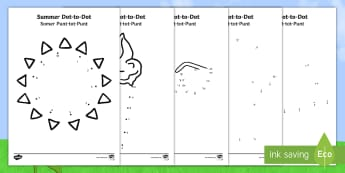 Summer Dot to Dot Activity Sheet English/Afrikaans - Seasons, warm, heat, holiday, seisoene, math, numbers, EAL