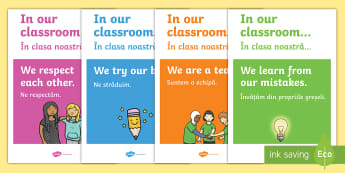 In Our Classroom Display Posters Romanian/English - in our classroom poster, in our classroom posters, EAL, romanian, english, positive environment