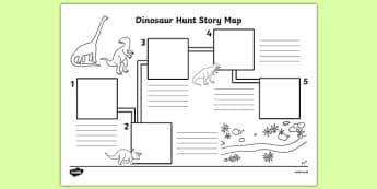 Dinosaur Hunt Story Map Activity Sheet - dinosaur hunt, dinosaur, hunt, story map, activity, worksheet