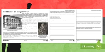 Should Colston Hall Change Its Name? Differentiated Activity Sheet  - Slavery, racism. Bristol, Edward Colston, Philanthropy, Protest