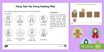 KS1 Fairy Tale Tea Party Seating Plan Activity Sheet - world maths day, equal sharing, division, 2 times table, y1 and y2, worksheet