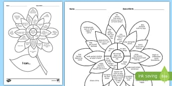 Moving to Toddler Room 'I Can' Assessment Flower