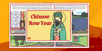 Chinese New Year Story - Display Posters, Chinese new year animals, A4, display, posters, China, lantern, dragon, chopsticks, noodles, year of the rabbit, ox, snake, fortune cookie, pig