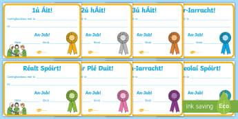 Lá Spóirt, Teastais Gradaim - Lá Spóirt, Sports day, teastais gradaim, award certificates, reward, gradam, lá spóirt, sports d