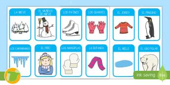 Tarjetas de vocabulario: Invierno - tarjetas. flashcards, educativo, aprendizaje, invernal, winter, primaria, educación infantil, prima