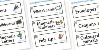 Elephant Themed Editable Writing Area Resource Labels - Themed writing resource labels, literacy area labels, writing area resources, Label template, Resource Label, Name Labels, Editable Labels, Drawer Labels, KS1 Labels, Foundation Labels, Foundati