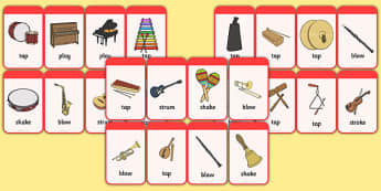 Musical Instrument Flashcards (with Action) - Music, instrument, action, word card, flashcard, word cards, playing instruments, piano, drums, guitar, recorder, violin, triangle, cymbals, notes, music