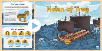 KS2 Helen of Troy PowerPoint - Zeus, Myths, goddess, Homer, Sparta