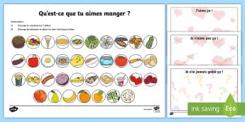 Feuille d'activités : Qu'est-ce que tu aimes manger ? - Semaine Du Goût, Nourriture, Aliments, Goûter, Cycle 1, Cycle 2, Aimer
