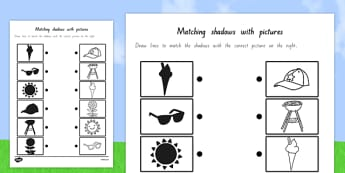 Summer Shadow Matching Worksheet - nz, new zealand, shadows, silhouettes, match