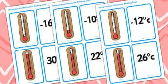 Temperature and Thermometer Matching Cards - science, heat, cards