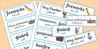 The Gunpowder Plot Topic Word Cards Arabic Translation - arabic