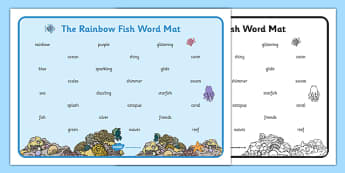 Word Mat (Text) to Support Teaching on The Rainbow Fish - The Rainbow Fish, Marcus Pfister, resources, Rainbow Fish, PSHE, PSE, octopus, shimmering scales, starfish, friendship, under the sea, sea, story, story book, story book resources, story seque