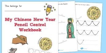 Chinese New Year Themed Line Handwriting Worksheets - australia