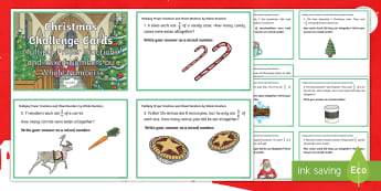 Y5 Multiplying Fractions Christmas Challenge Cards - Proper, improper, mixed, quiz, word problems, reasoning, applying, mastery