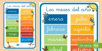 Pósters: Los meses del año - calendario, meses del año, póster, poster, DIN A4, enero, febrero, marzo, abril, mayo, junio, juli
