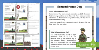 KS1 Remembrance Day Differentiated Reading Comprehension Activity - 11th November, Poppy, Armistice Day, World War One, Remembrance Sunday, guided reading, diwrnod y cofio, dydd y cofio