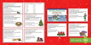 Year 3 Christmas Mental Maths Challenge Cards English/Portuguese - Christmas, mental maths, Christmas mental maths, Year 3 mental maths skills, Y3 maths, year 3 challe