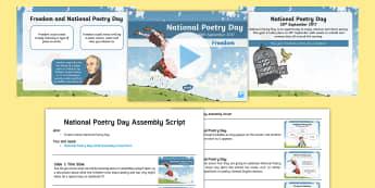 National Poetry Day LKS2 Assembly Pack - poems, vocabulary, language, reading aloud, perform, Onomatopoeia, freedom, imagine, visualise, word