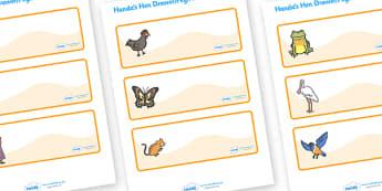 Handa's Hen Drawer-Peg-Name Labels - Handa's Hen, Eileen Browne, Editable Drawer-Peg-Name Labels-Classroom Label Templates, Resource Labels, Name Labels, Editable Labels, Drawer Labels, Coat Peg Labels, Peg Label, KS1 Labels, Foundation Labels, Found