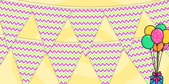 Zig Zag Birthday Party Pattern Bunting Pink And Green - birthdays