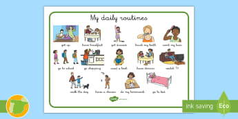 Vocabulary Mat: Daily Routines - Daily, routines, vocabulary, get up, get dressed, have breakfast, go to school, read a book