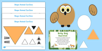 Shape Animals Busy Bag Prompt Card and Resource Pack to Support Teaching on The Gruffalo - EYFS, Maths, Shapes, triangles, squares, oval, circles