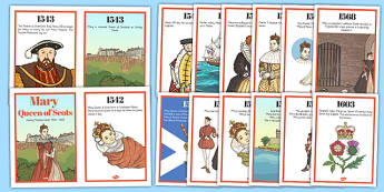 Mary Queen of Scots Timeline Fact Display Cards - mary, queen
