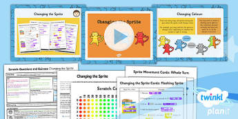 Computing: Scratch Questions and Quizzes: Changing the Sprite Year 4 Lesson Pack 3