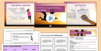 Emotive Language Recap for GCSE Lesson Pack - emotive, language, recap, gcse, lesson pack