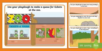 Who's at the Zoo? Playdough Mats - aistear, exploring my world, malleable, playdough, motor, skills, hand, strength, Irish