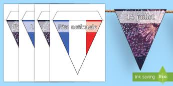 Guirlande de fanions : Le 14 juillet - Poster, affiche, décoration, classe, display, fête nationale, Bastille