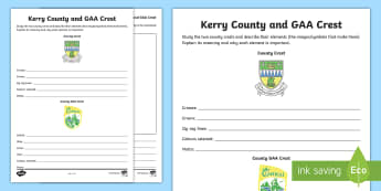 Kerry County and GAA Crest Activity Sheet - GAA Football All-Ireland Senior Championship, GAA Hurling All-Ireland Senior Championship, GAA crest