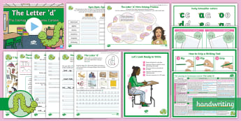 The Journey to Continuous Cursive: The Letter 'd' (Curly Caterpillar Family Help Card 3) KS2 Activity Pack - Nelson handwriting, penpals, fluent, joined, legible, handwriting