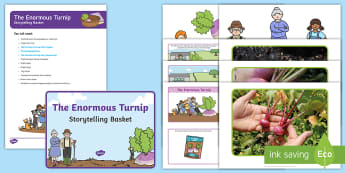 The Enormous Turnip Storytelling Basket - EYFS, story, reading, literacy, books, turnip, farm, reading area, reading buddies, story props