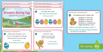 Brenda's Boring Egg Year 1 Reasoning Differentiated Challenge Cards - twinkl originals, fiction, KS1, Maths, Problem solving, calculating, Mental maths