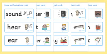 Sound and Hearing Topic Word Cards  - Listening Area, Music Area, Music, sound, sounds, display, poster, instruments, listen, listening