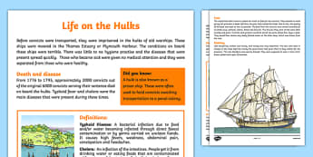 The First Fleet Life on the Hulks Information Sheet - australia, The First Fleet, First Fleet, convicts, voyage, hulks, diseases, life, food, clothing, information, fact sheet, ships