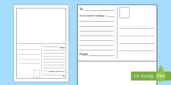Summer Postcard First Level Writing Worksheet / Activity Sheet - New class, transition, getting to know you, first day, summer holidays, recount, worksheet